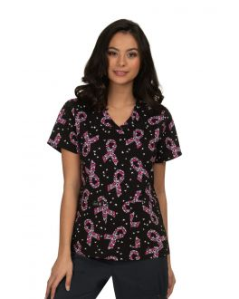 Koi Breast Cancer Butterfly Leslie Print Scrub Top
