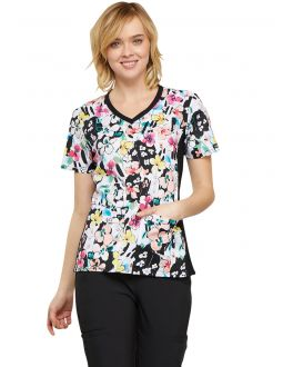 87d9be83afc Cherokee Brilliant Bouquet V-Neck Knit Panel Top