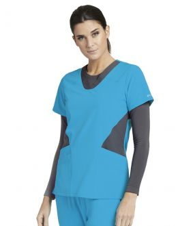 Barco One Scrubs Women's 4 Pockets Contrast V-Neck Side Panel Top