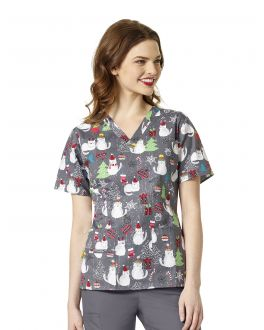 WonderWink A Merry Bunch Printed V-Neck 2Pkt Top