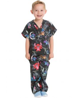 Tooniforms Spooky Stitch Kids Top and Pant Print Scrub Set