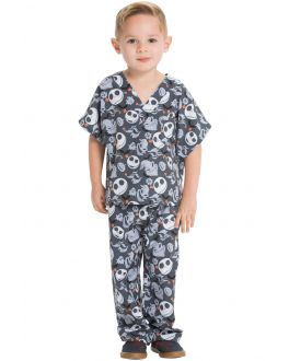 Tooniforms Boogie With Jack Kids Top and Pant Print Scrub Set