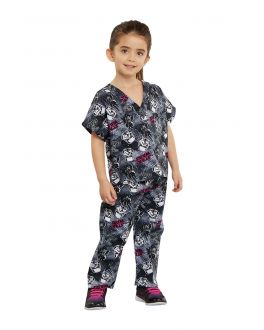 Tooniforms Gimme My Space Kids Top and Pant Print Scrub Set