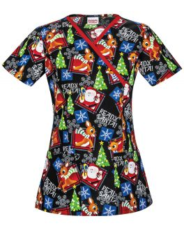 Tooniforms Ready Santa Mock Wrap Top