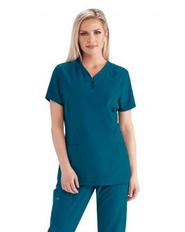 Barco One Scrubs Women's 3 Pockets High Low Perforated Raglan Top