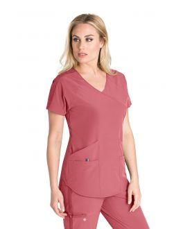 Barco One Wellness Women's 4 Pockets V-Neck Raglan Back Slit Scrub Top
