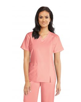 Barco One Scrubs Wellness Women's 4 Pockets V-Neck Contrast Shoulder Top