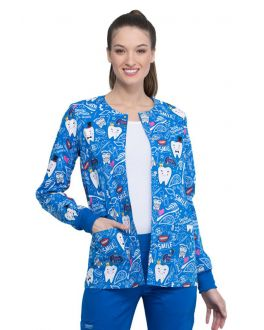 Cherokee Bring The Sparkle Snap Front Warm-Up Print Scrub Jacket
