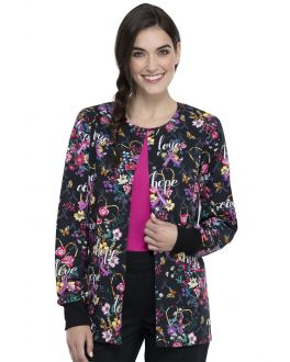 Cherokee Bouquets Of Hope Snap Front Warm-Up Print Scrub Jacket