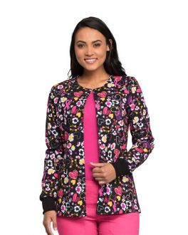 Cherokee Doodle You Care Snap Front Warm-up Print Scrub Jacket