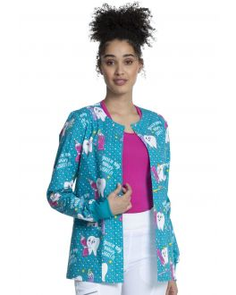Cherokee My Main Squeeze Snap Front Print Scrub Jacket