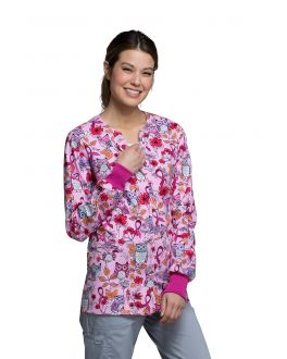 Cherokee OWL ABOUT THE LOVE Snap Front Warm-up Print Scrub Jacket
