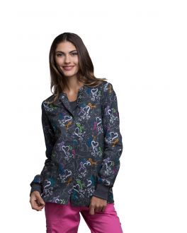 Cherokee We Are Aware! Snap Front Warm-Up Print Scrub Jacket