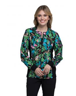 Cherokee Tropical Tango Zip Front Knit Panel Warm-Up Print Scrub Jacket
