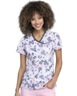 Cherokee Let's Go Places Mock Wrap Print Scrub Top