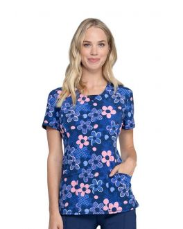 Cherokee Actively In Bloom Round Neck Print Scrub Top