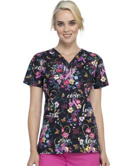 Cherokee Bouquets Of Hope V-Neck Print Scrub Top