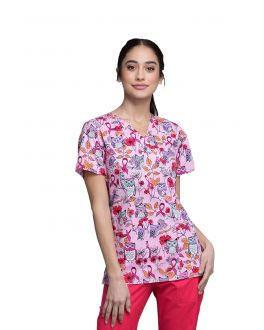 Cherokee Owl About The Love Mock Wrap Print Scrub Top