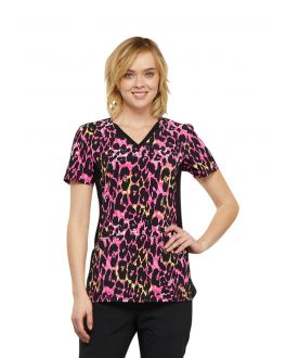 Cherokee Exotic Purr-Spective V-Neck Knit Panel Print Scrub Top