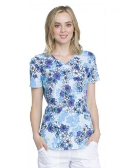 Cherokee Beautiful Blossoms V-Neck Top
