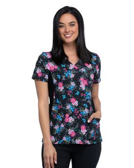 Cherokee Among The Wildflowers Mock Wrap Knit Panel Print Scrub Top