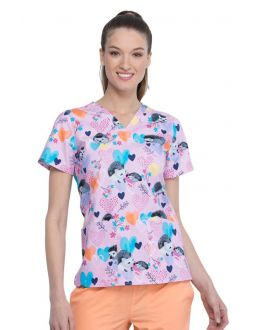 Cherokee Hedgehugs And Kisses V-Neck Print Scrub Top