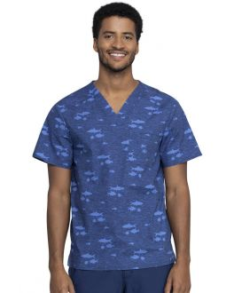 Cherokee Stay In School Men's V-Neck Print Scrub Top