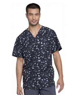 Cherokee Brush Stroke Black Men's V-Neck Print Scrub Top