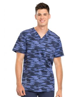 Cherokee Down The Line Men's V-Neck Print Scrub Top