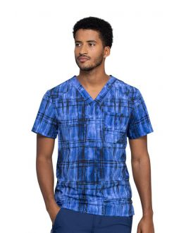 Cherokee Plaid Tie Dye Men's V-Neck Print Scrub Top