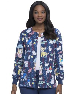 Dickies EDS Scrubs Women's Adopt Don't Shop Snap Front Warm-Up Print Scrub Jacket