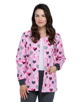 Dickies Actively Care Snap Front Warm-Up Print Scrub Jacket