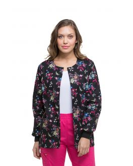 Dickies Beautiful Petals Snap Front Warm-Up Print Scrub Jacket