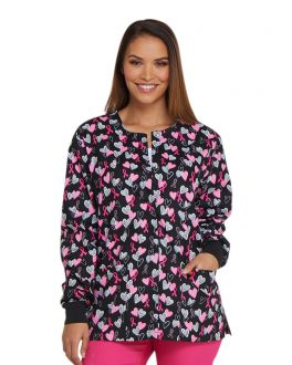 Dickies Hope In My Heart Snap Front Warm-Up Print Scrub Jacket