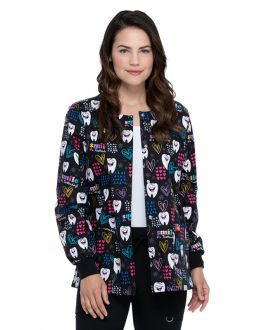 Dickies Smile It's Toothsday Snap Front Warm-Up Print Scrub Jacket