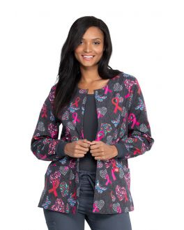 Dickies Speck-Tacular Love Snap Front Warm-Up Print Scrub Jacket