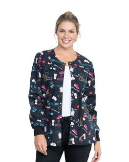 Dickies We Stick Together Snap Front Warm-Up Print Scrub Jacket