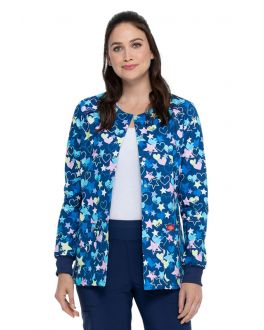 Dickies Starry Eyed Love Snap Front Warm-Up Print Scrub Jacket
