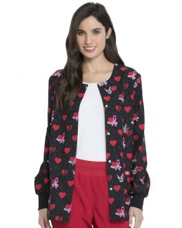 Dickies EDS Scrubs Women's Be-Cause Of You Snap Front Warm-Up Print Scrub Jacket