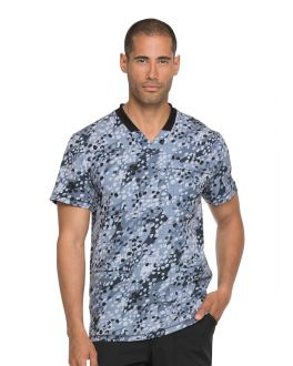 Dickies Get Down Grid It Men's Rib Knit V-Neck Print Scrub Top