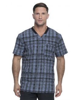 Dickies Dynamix Positively Plaid Pewter Rib Knit V-Neck Scrub Print Scrub Top