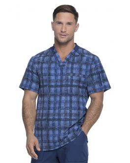 Dickies Men's Positively Plaid Navy V-Neck Print Scrub Top