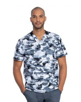 Dickies Stone Cold Camo Pewter Men's V-Neck Print Scrub Top