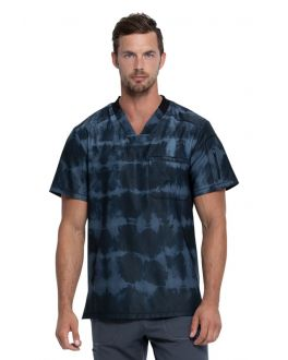 Dickies Tie Dye Stripes Pewter Men's V-Neck Print Scrub Top