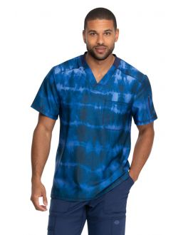 Dickies Tie Dye Stripes Navy Men's V-Neck Print Scrub Top