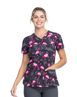 Dickies Let's Flamingle V-Neck Print Scrub Top