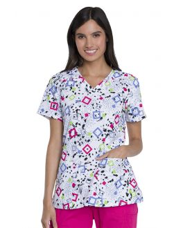 Dickies Squares And Spots V-Neck Print Scrub Top