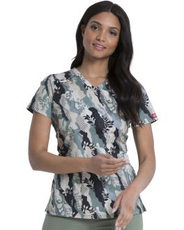 Dickies Nature Camo V-Neck Print Scrub Top