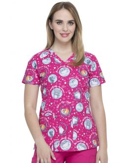 Dickies They See Me Rollin V-Neck Print Scrub Top