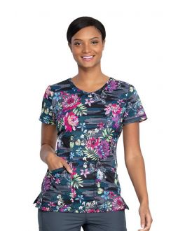 Dickies Tropical Camo-Tion V-Neck Print Scrub Top